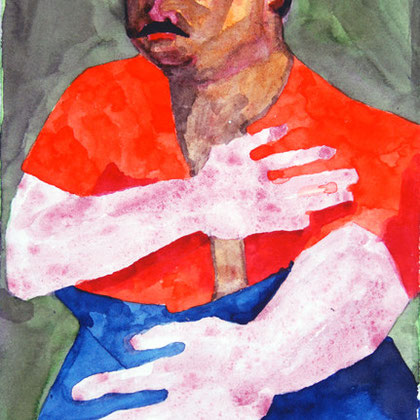 Study from Beckmann's 'Family Portrait of Heinrech George' 2008 (Watercolour) (21x14)