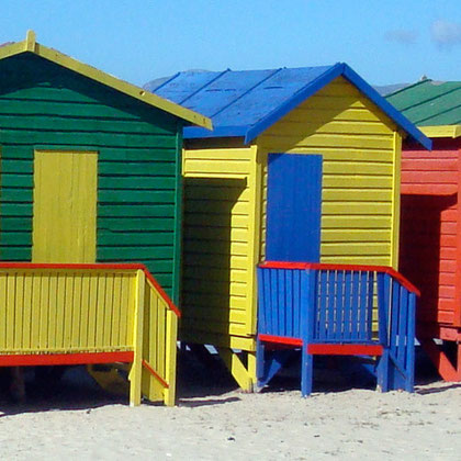 Beach huts at Muizenberg (c) Peg Murray Evans