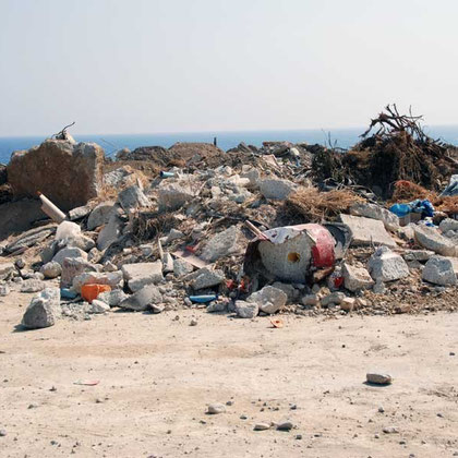 Dumped rubbish on coast between Agios Giorgios Alamanos beach and Cyprus Cement Company