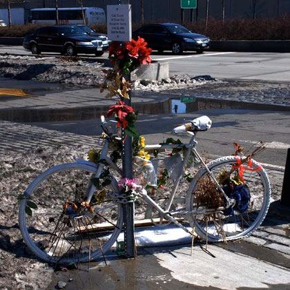 White bike commemorating Carl Nacht, 56, killed by a truck on the Lincoln Highway