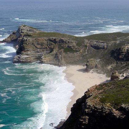Cape of Good Hope from Cape Point (courtesy Zaian@Wikimedia)