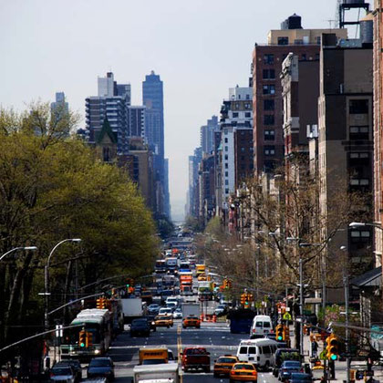 Looking south down Amsterdam Avenue from Columbia University on the Upper West side