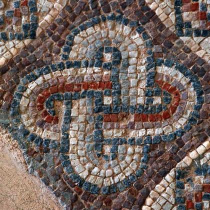 5th century Roman mosaic decoration, House of Eustolis, Kourion