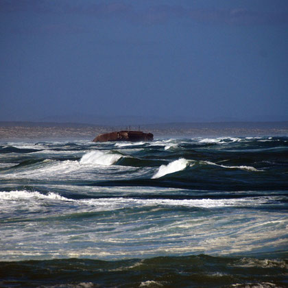 Looking south at the wreck of the Pantalis a Lemos (1978) on 16 Mile Beach from Tsaarsbank, West Coast National Park