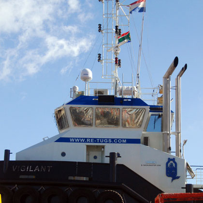 Tug Vigilant in Synchrolift repair yard nr Alfred Basin, Cape Town harbour