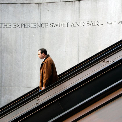 'I recall the experience sweet and sad': man descending, at Dupont Circle Metro station