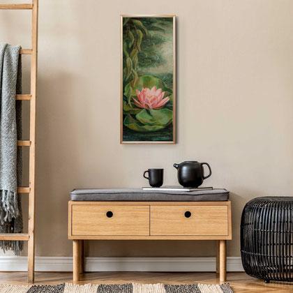 "2019 Seerose I,  20x50 cm / 8""x20"", Acryl auf Leinwand, € 129"