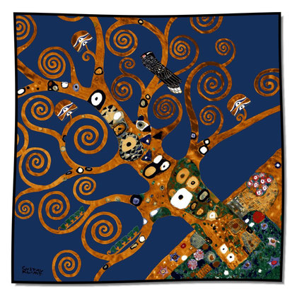 Artikel Nr. 1032 Lebensbaum Detail blau (100 x 100cm)