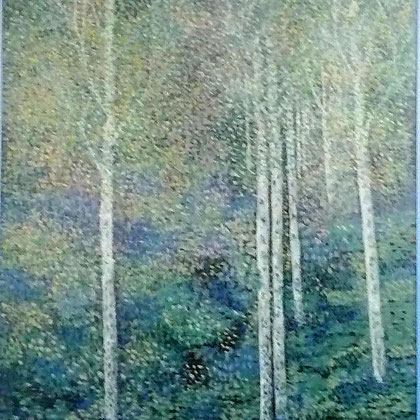 Suneel Ahluwalia, Birken im Garten  (2002) Acryl auf Leinwand  110 x 120