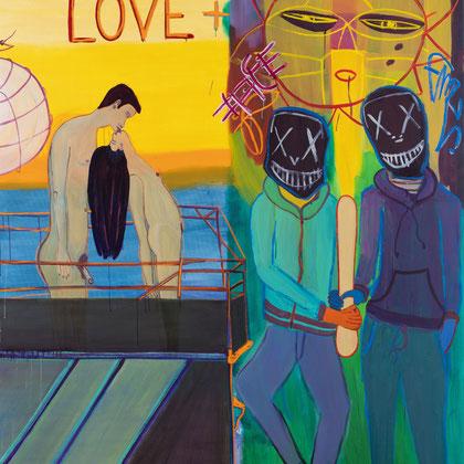 >love + hate< (für Ren Hang), 2020, 200 x 180 cm, oil/canvas