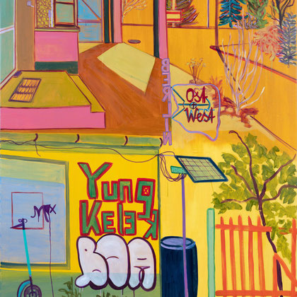 >berlin: ost + west<, 2020, 195 x 135 cm, oil/canvas