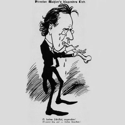 Caricatura de Mahler dirigiendo su Das Klagende Lied.