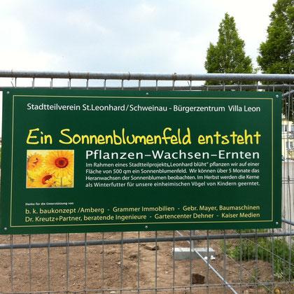Bautafel für den Bürgerverein St. Leonhard zum Projekt: Leonhard blüht.