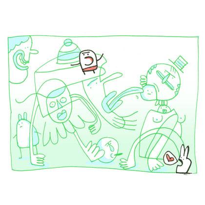 Illustration Liebe mit Hase, Zeichnung mit Tusche auf Papier und digitaler Farbe von Frank Schulz Art, zeigt Fantasie Figuren im Gewimmel