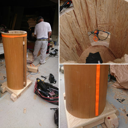 北山の杉の巨大丸太で遊び心満点の当社ポスト造作中