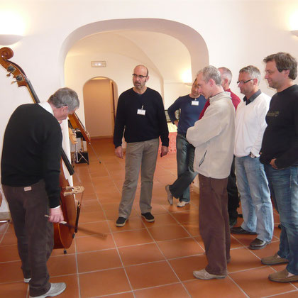 Maestro Lucchi (on the left) in Perugia during the first Festival dedicated to the doble bass. Nay, 2009 - PERUGIA (Italy)