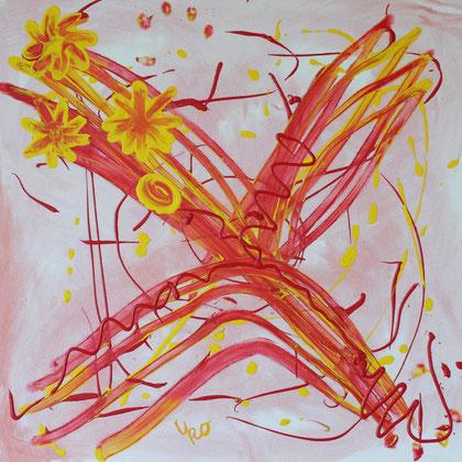 Ein abstrakter Blumengruß von UKo (Ursula Konder). Ein junges Paar hat das Bild für sein Schlafzimmer gekauft.