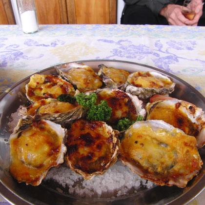 Austern mit Käse überbacken