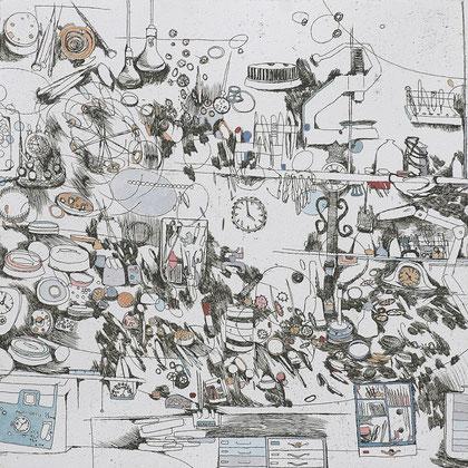 Kristin Finsterbusch, Uhrenwerkstatt kurz vor dem Aufräumen, Tiefdruck, vernis mou, Aquarell, 2008, 30x30 cm