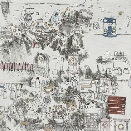 Kristin Finsterbusch, Besuch beim Uhrenmacher, Tiefdruck, vernis mou, Aquarell, 2008, 20x20 cm