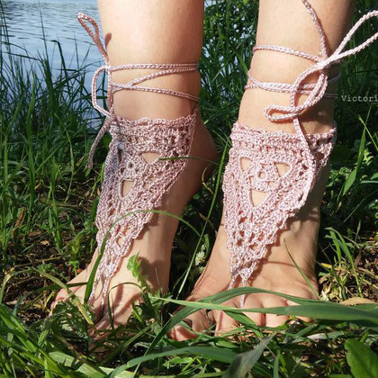 Barefoot Sandals, Wedding Beach, Bride Shoes, boho, Yoga Festival Shoes, foot decor, foot jewelry, Crochet Lace, bellydance accessories, beach party, Bohemian, Hippie, Gypsy, Fashion