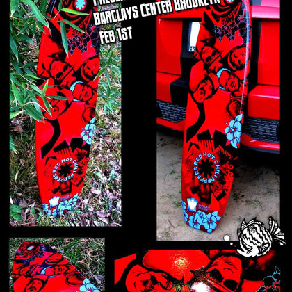 Red Hot Chili Peppers surfboard finished and ready to be sent to their concert