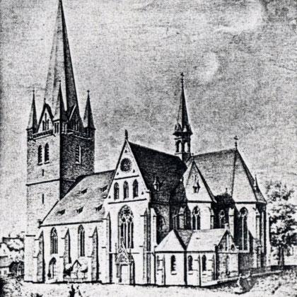 St. Vincenz Kirche nach der Erweiterung von 1867 mit Querschiff, neuem Chor und neuer Turmhaube