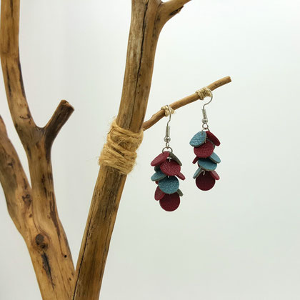 Atelier Passions Indigo : Boucles d'oreilles pendantes CONFETTIS