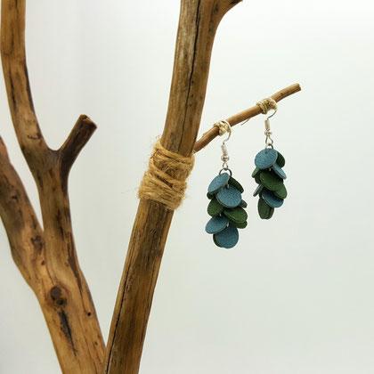 Atelier Passions Indigo : Boucles d'oreilles cuir pendantes CONFETTIS