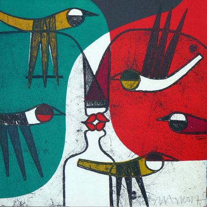 AMOR, AMAR, AMARSE, 25 x 25 cm, aguafuerte + acetato