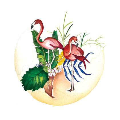 Flamencos . Acuarela sobre papel, 29,7 x 29,7cm.