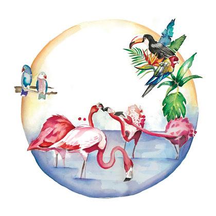 Flamingos.  .Acuarela sobre papel, 29,7 x 29,7cm.