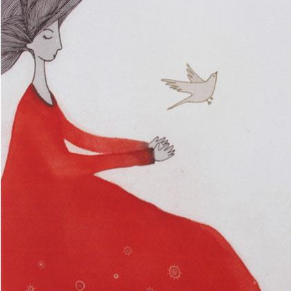 """""""Mirlo Blanco"""", Técnica: Fotopolímero. Dimensiones: 23×40,5 cm. Año: 2012."""