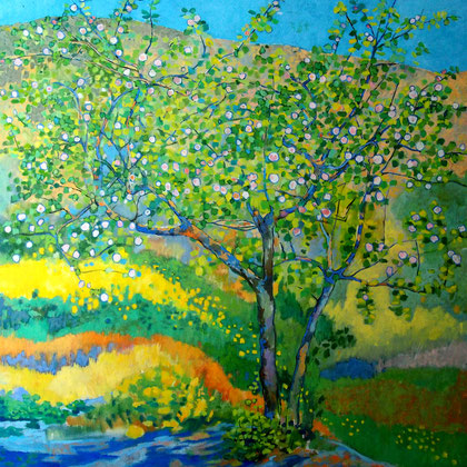 Membrillo de Aldeire, óleo sobre tabala 100 x 100 cm.