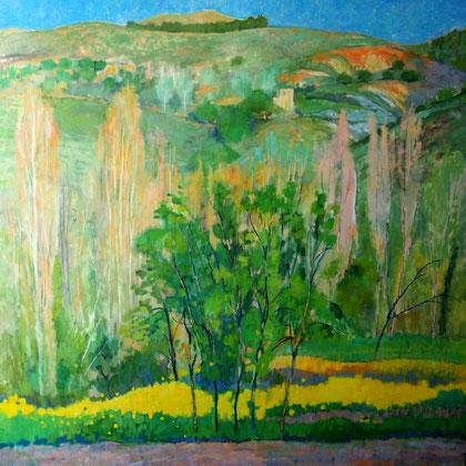 Paisaje  Aldeire, óleo sobre tabal 100 x 100 cm.