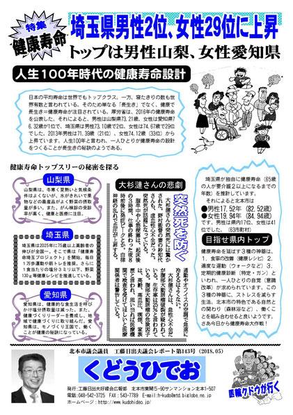 工藤日出夫議会レポート第143号(2018年5月)