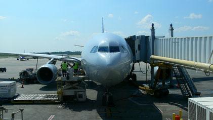 N285AY wird für den Flug nach Frankfurt vorbereitet