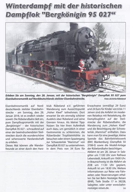 Winterdampf mit der historischen Dampflok Bergkönigin 95 027