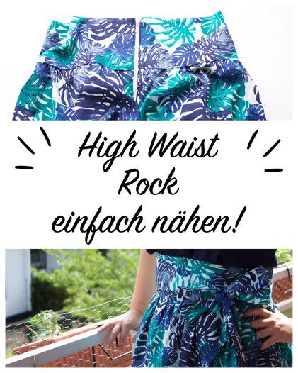 Schönen High Waist Rock nähen. Kostenlose bebilderte Anleitung.
