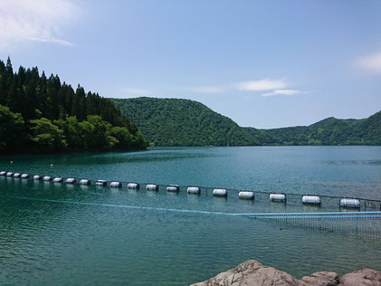 沼沢湖に到着!カルデラ湖でとても澄んでいて綺麗(´▽`)湖水浴が出来るそうです。その昔、彼女とここで泳ぐために泳ぎの特訓をしたというボスの秘話が・・・何しろ見た目重視なんですよ(≧▽≦)