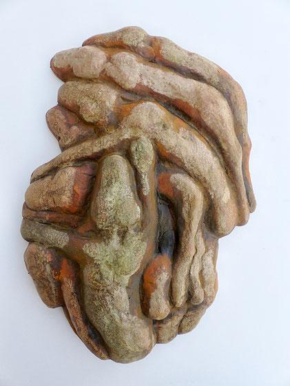 Cokoosie, 2014 Steinzeug, Engobe, 34x24x7 cm