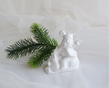 Christbaumhänger Nikolaus auf Schneemobil aus Keramik