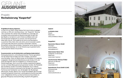"Nominierung Internationaler Handwerkerpreis | Revitalisierung ""Kasperhof"""