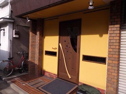 玄関ドア木製 店舗用・東京浅草