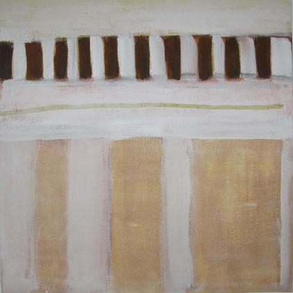 Nr. 2010-HO-027: 70 x 70 cm, Reibeputz, Rosteffekt, Acryl auf Leinwand