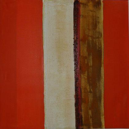 Nr. 2010-HO-028: 70x 70 cm, Acryl, Strukturmasse, Rosteffekt, Rostpartikel auf Leinwand