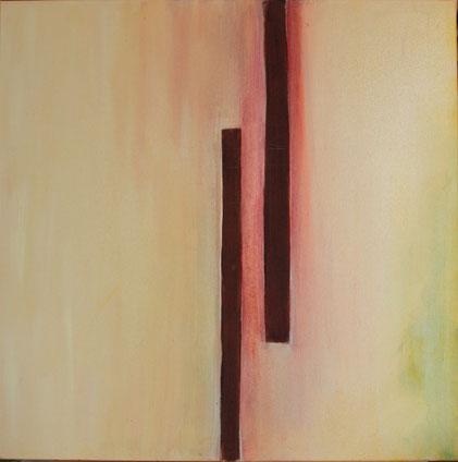 Nr. 2012-HO-008: 70 x 70 cm, Reibeputz, Rosteffekt, Acryl auf Leinwand