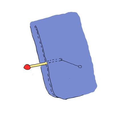 マッチ棒の先端に針を突き刺します。