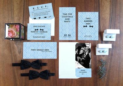 Einladung zu einer Männerhochzeit im 1960s Style | www.gleichundgleich.com
