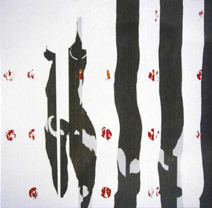Annonciation, 1986, Jeu d'enduit et émail glycérophtalique sur toile, 180 x 180 cm, Collection particulière, Bruxelles, Belgique